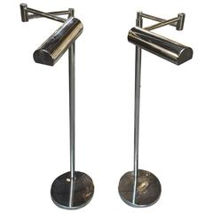 Pair of Von Nessen Chrome Floor Lamps