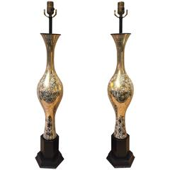 Tall Pair of Gilt and Enameled Murano Glass Lamps