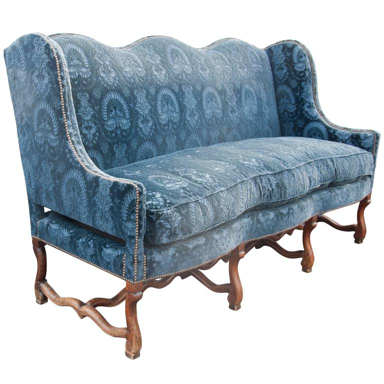 French Baroque Walnut Os De Mouton Sofa