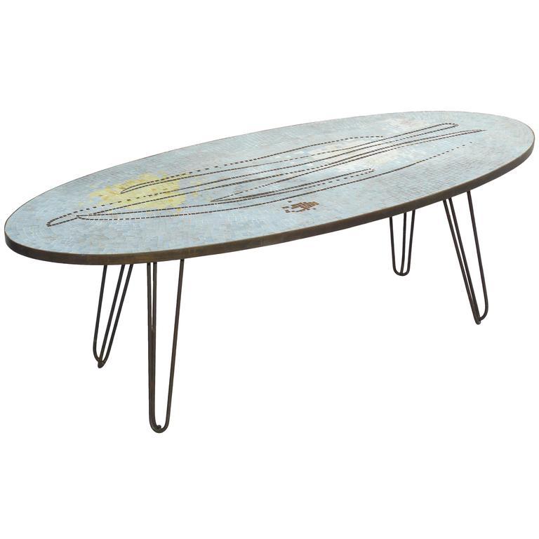 1950s Italian Elliptical Glass Tile Coffee Table At 1stdibs