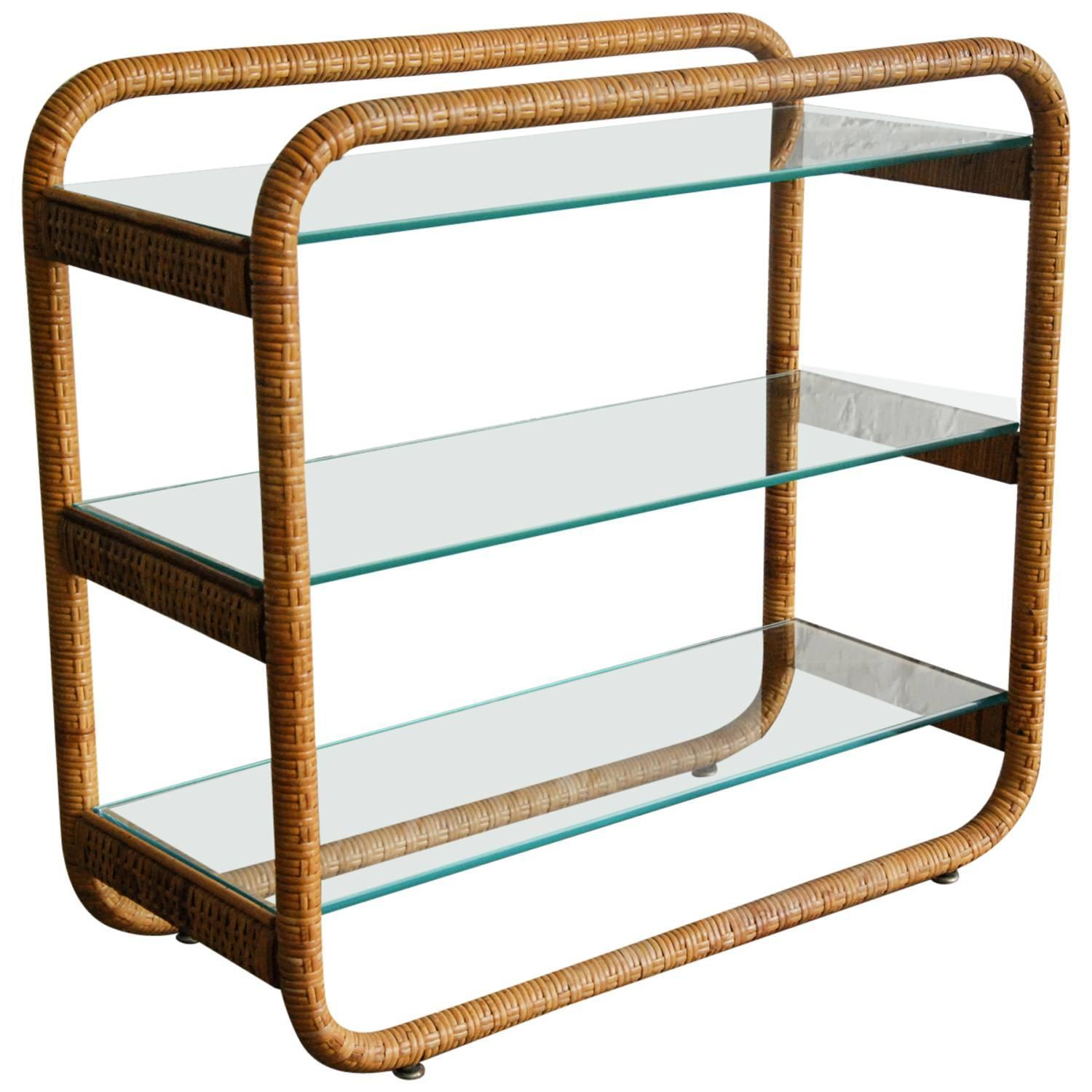 rattan and glass tag re italy circa 1970 for sale at 1stdibs. Black Bedroom Furniture Sets. Home Design Ideas