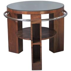 A Fine French Art Deco Walnut and Chrome Two-Tiered Gueridon
