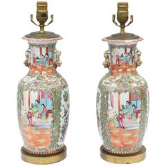 Pair of 19th Century Chinese Export Rose Mandarin Vase Lamps