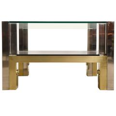Italian Bronze & Chrome Coffee Table by Afredo Freda for Cittone Oggi,1970s