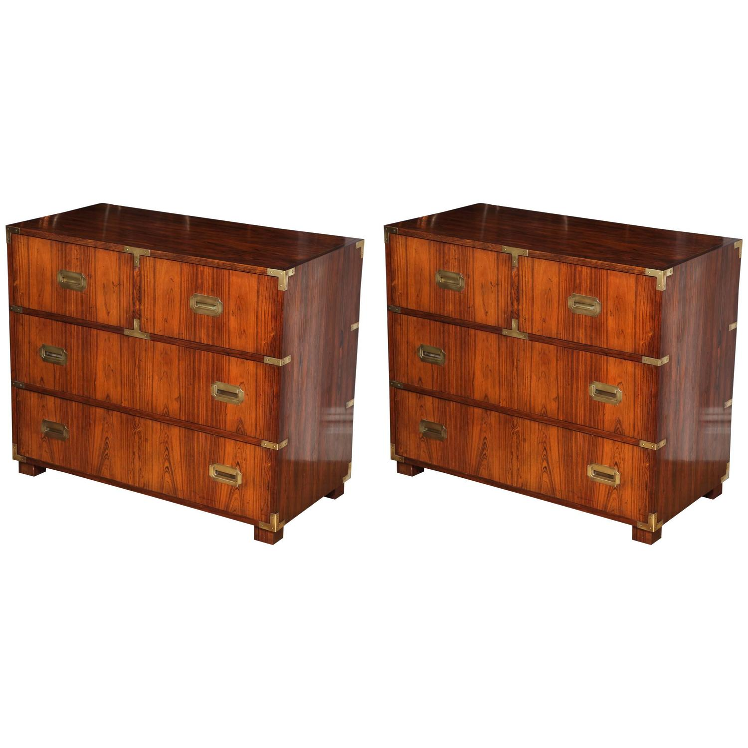 Pair Of Rosewood Anglo Indian Style Campaign Chests At 1stdibs