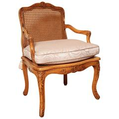 Louis XV Desk Chair with Caned Back