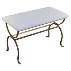 Spanish Gilt Metal Bench with Upholstered Seat