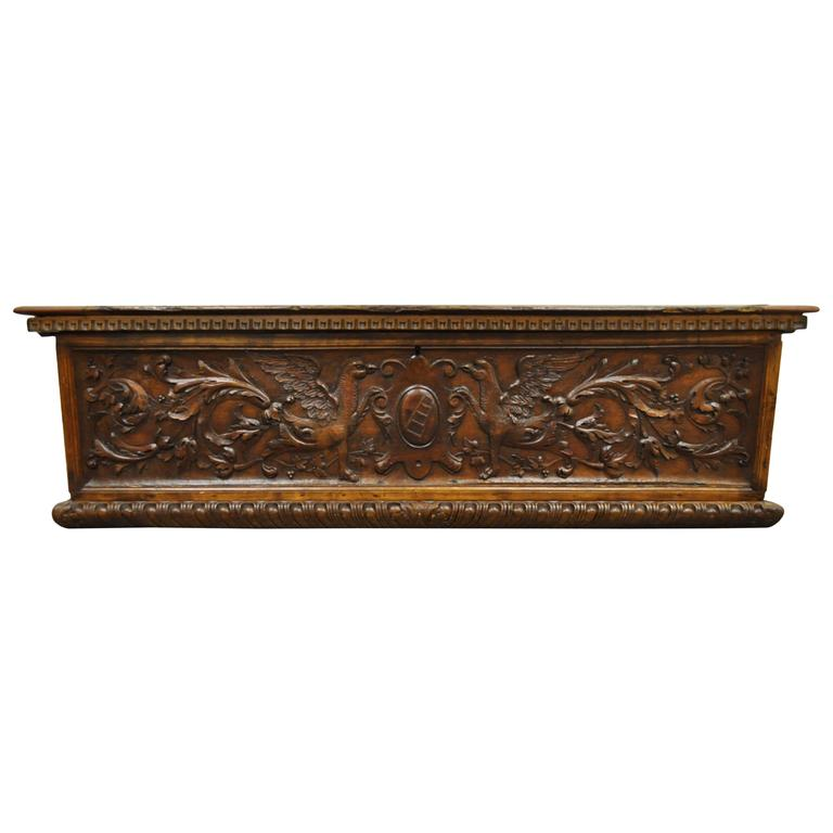Large 17th Century Figural Carved Griffin Gothic Coffer Or Blanket Chest  For Sale