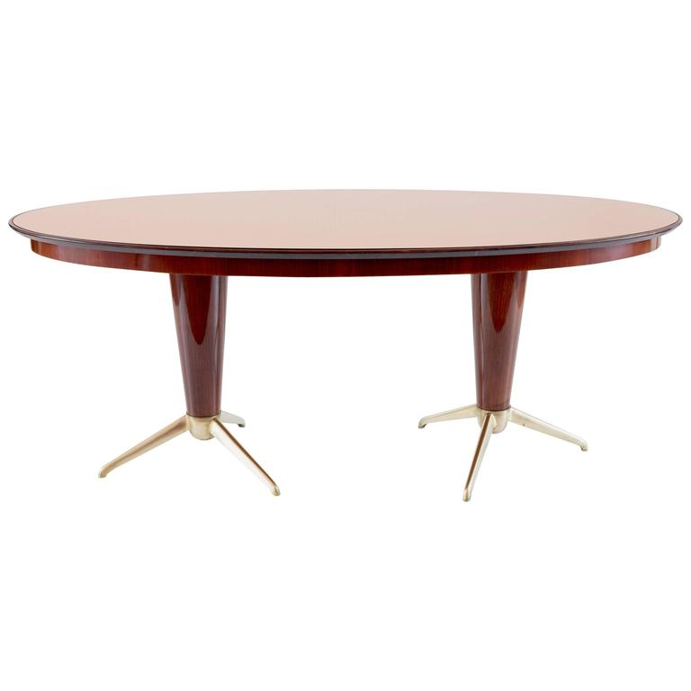 Oval Mahogany Brass Dining Table, Pink Mirror Top, 1952 For Sale