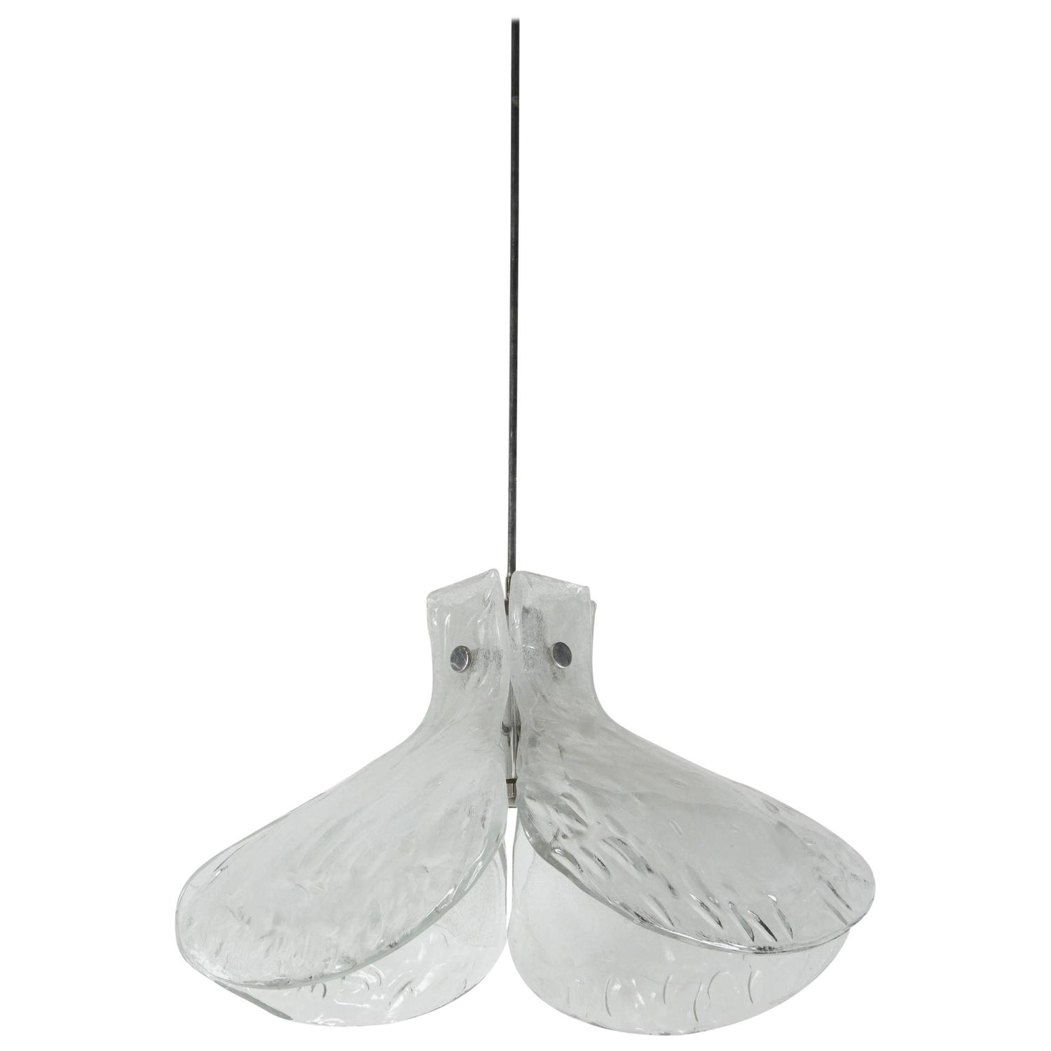Beautiful Large Four Petal Pendant Light By Mazzega At 1stdibs
