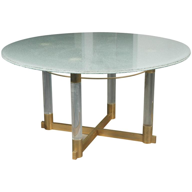 CONCEPTUAL CYPRESS WOOD DINING TABLE BASE W/GLASS TOP At
