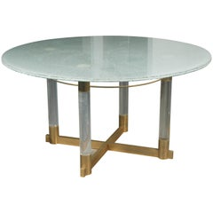Crackled Glass Dining Table with a Base of Lucite and Brass