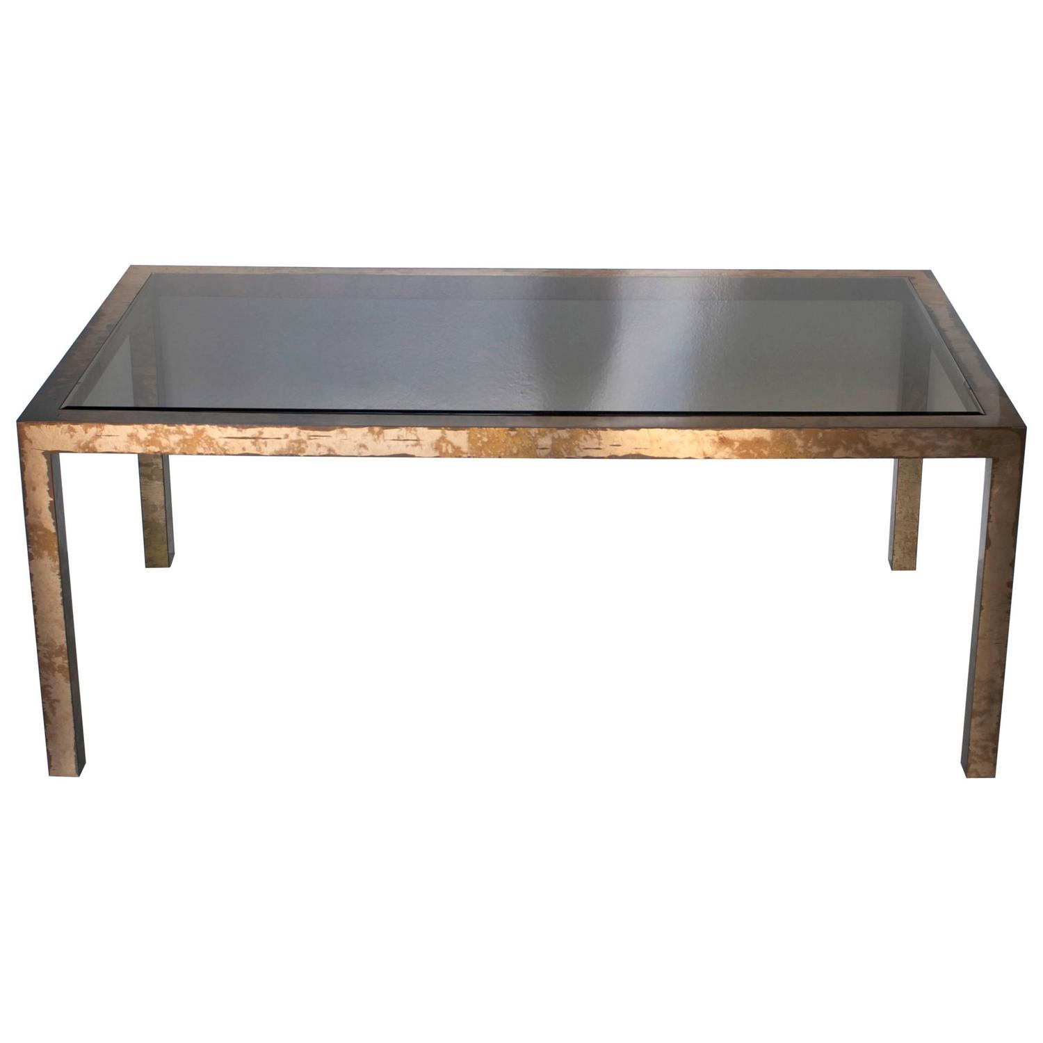 Acid Washed Brass Parsons Dining Table at 1stdibs