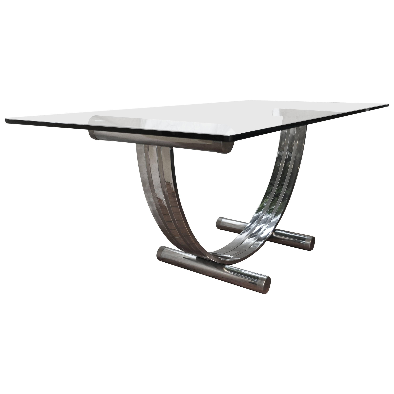 Mid-Century Modern Romeo Rega Chrome, Brass and Glass Dining Table
