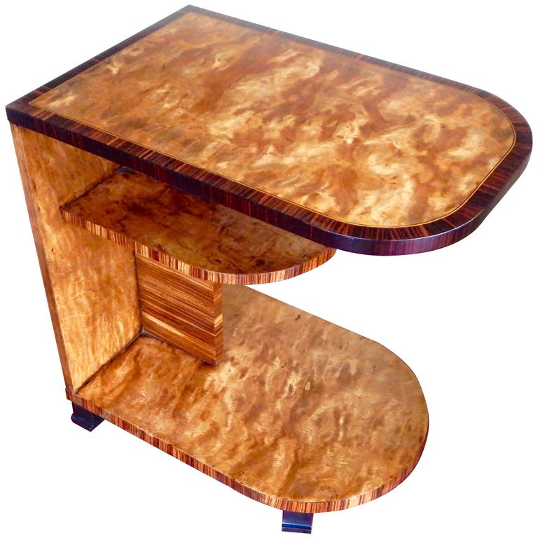 Swedish Art Deco Side Table in Golden Flame Birch and ...