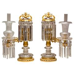 Pair of Crystal and Brass Argand Lamps, circa 1830