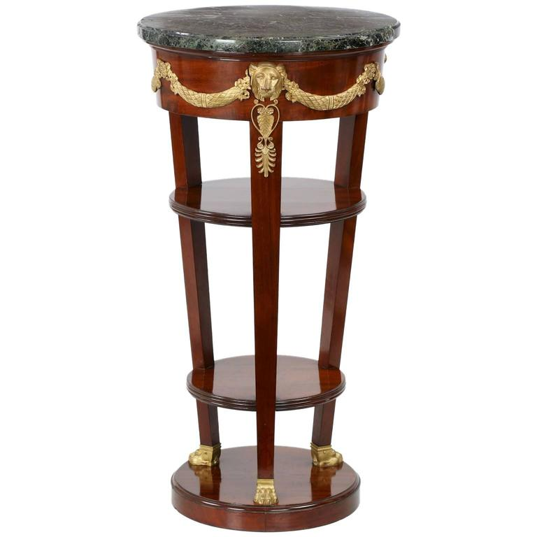 Antique Marble Side Table Reading: Bell Époque Doré Bronze Side Table With Green Marble Top