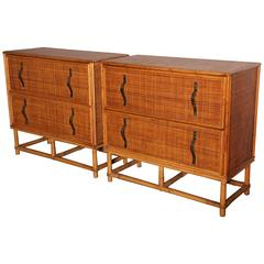 pair of Paul Frankl Bamboo and Rattan Dressers