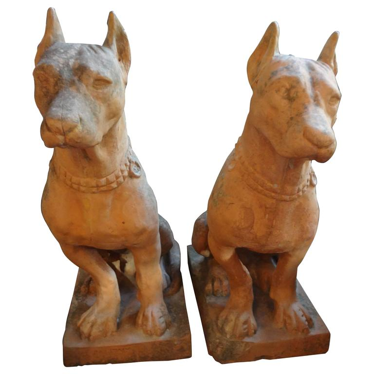 Pair of Antique Italian Terra Cotta Dog Statues