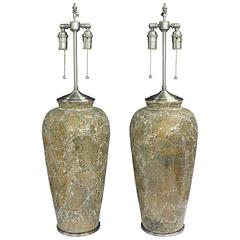 "Large ""Crackle"" Glass Vases with Lamp Application"