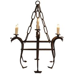 Italian Wrought Iron Six-Light Chandelier, UL Wired, Early 20th Century