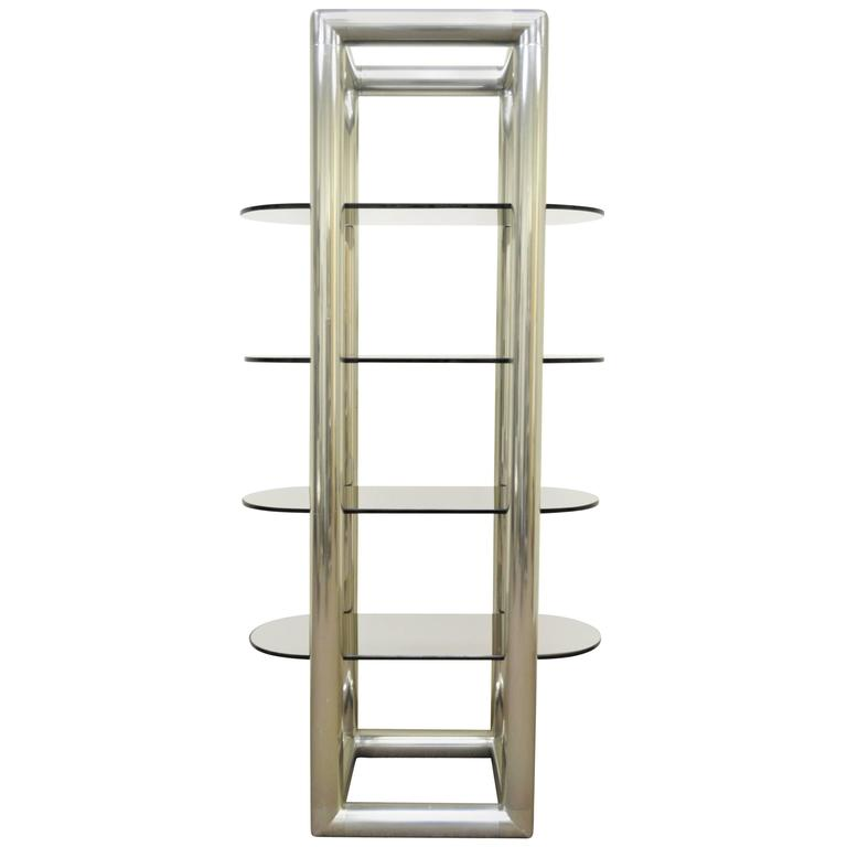 1960s Mid-Century Modern Tubular Aluminum and Glass Etagere after Milo Baughman