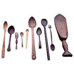 Eclectic Collection of 18th and 19th Century Treenware Spoons