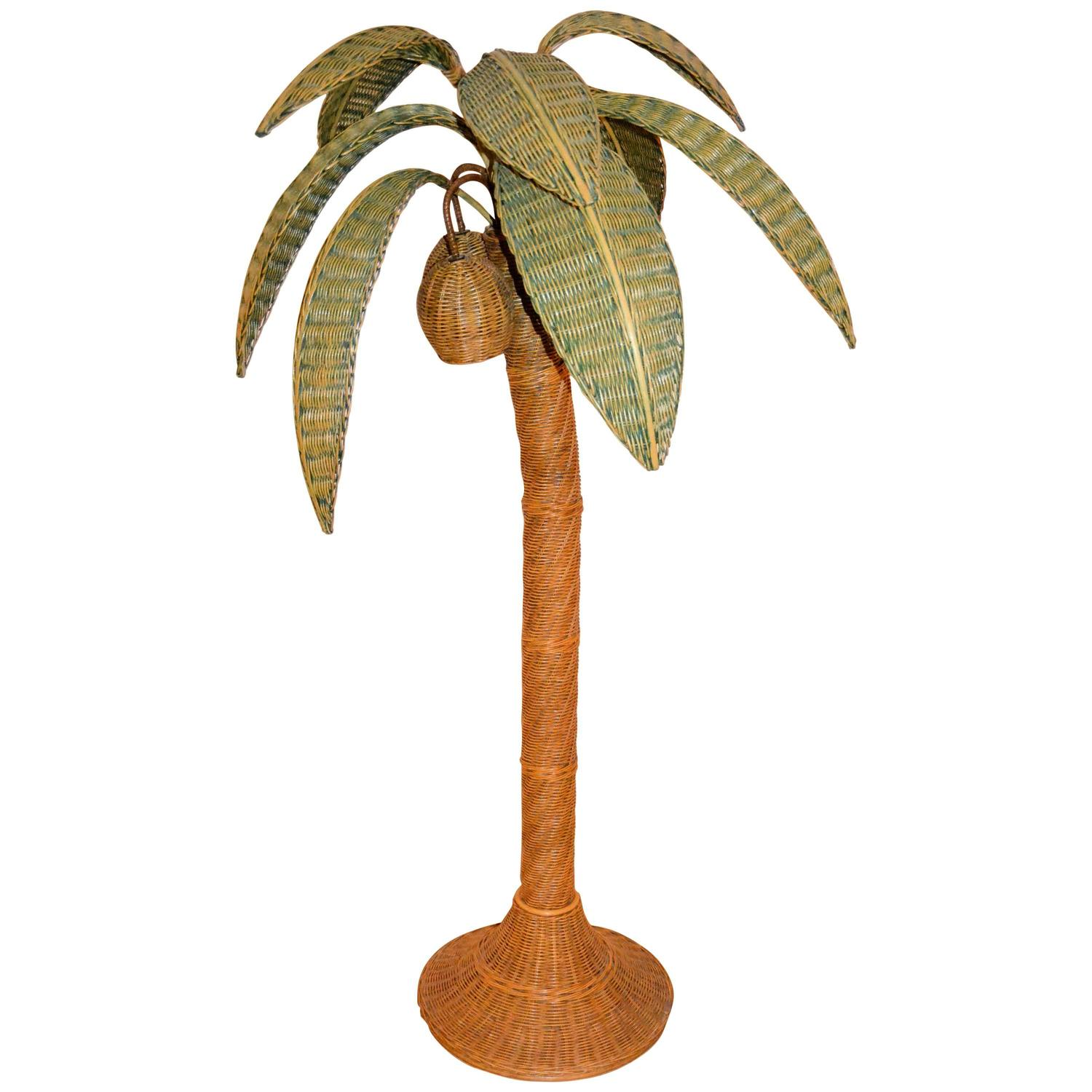 1970s Large Palm Tree Floor Lamp In Rattan At 1stdibs