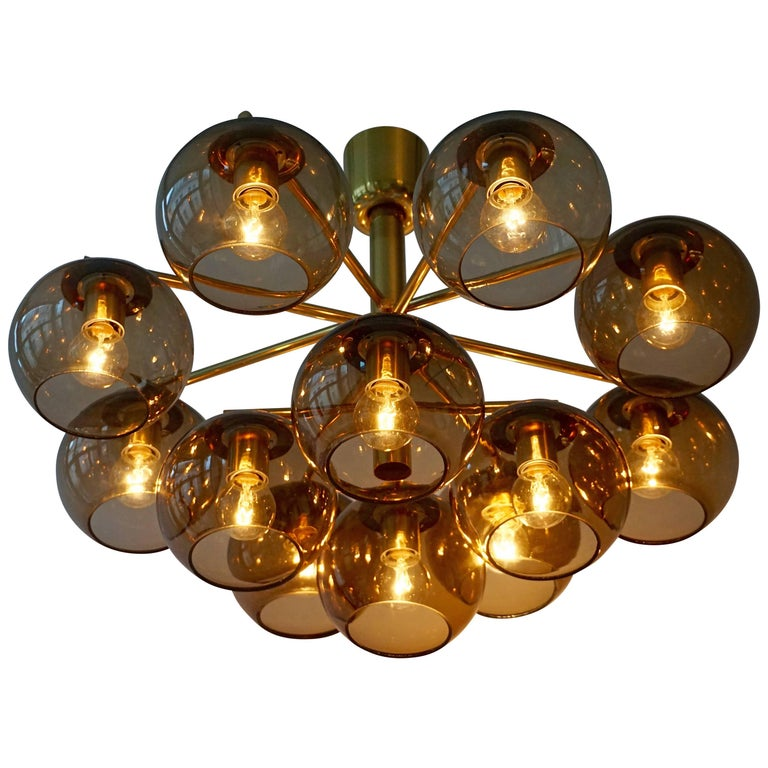 Murano Glass and Brass Chandelier, Flush Mount Light For Sale