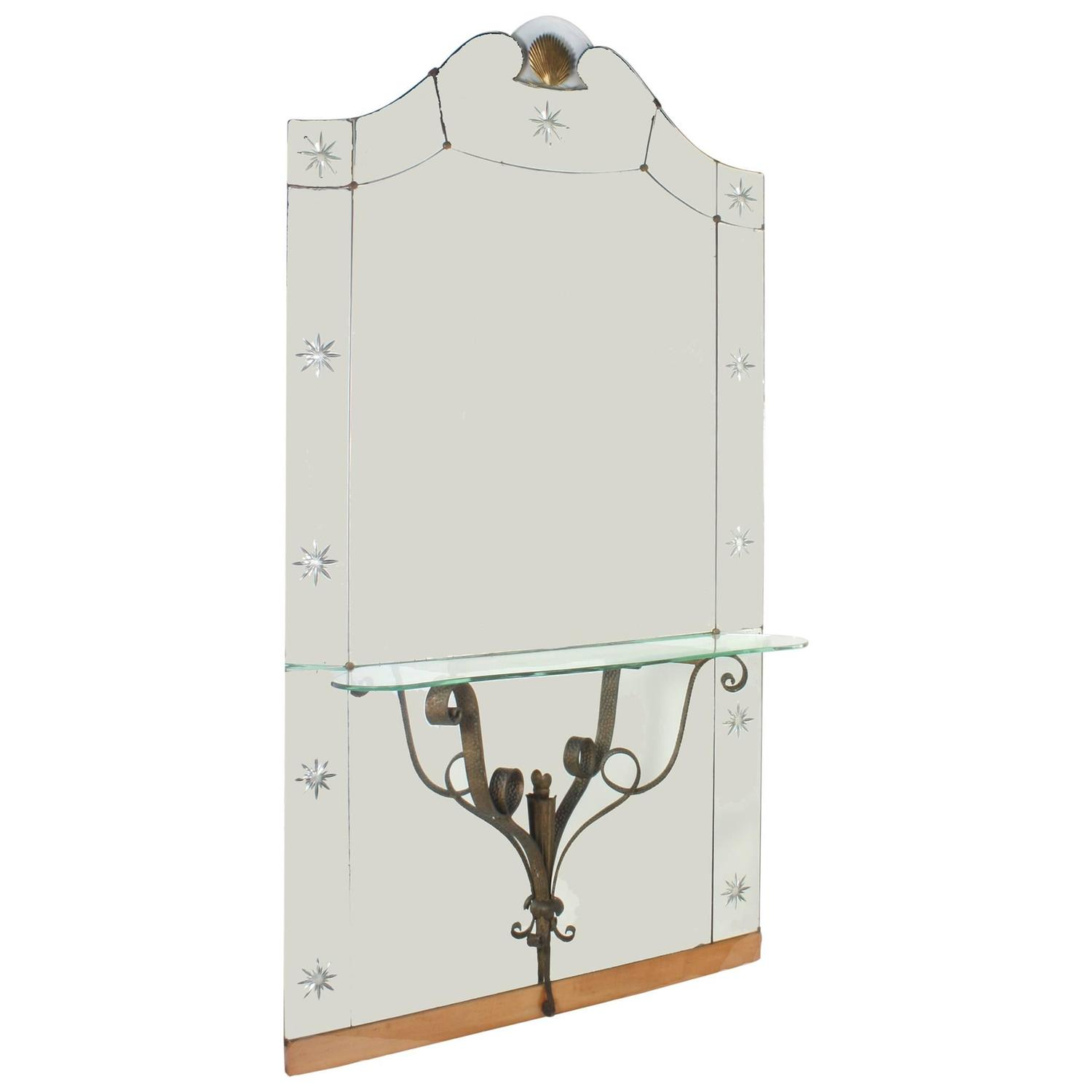 Large italian hall mirror with shelf at 1stdibs for Full length mirror with shelf