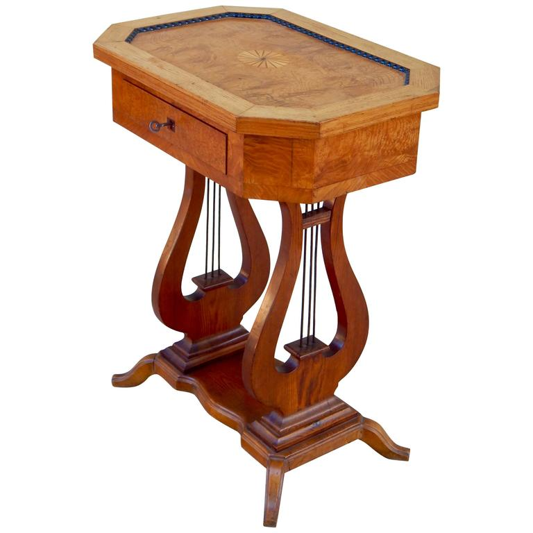 Swedish Art Deco Biedermeier Revival Lyre Table, circa 1920 1