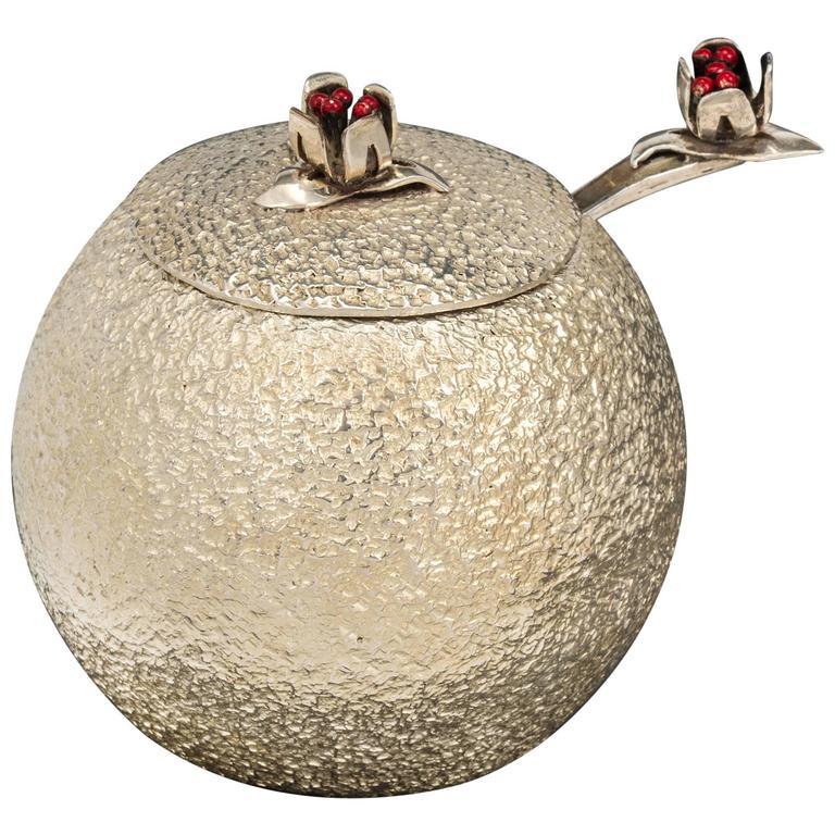 Los Castillo Silver Sugar Bowl And Spoon For