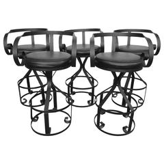 Rare Set of Five George Mulhauser Sultana Style Iron Swivel Stools Mid-Century