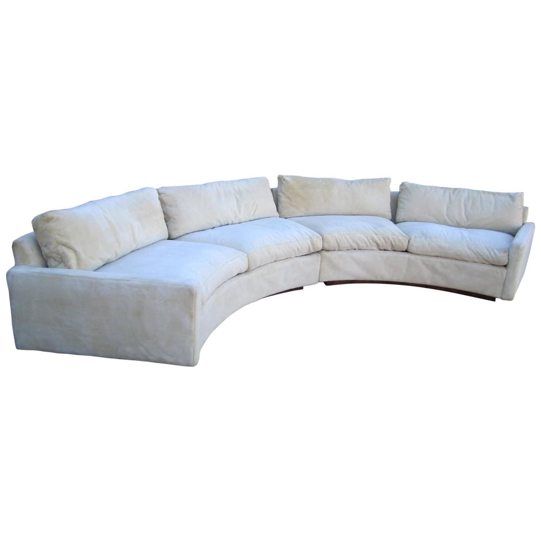 Fantastic Signed Milo Baughman Two Piece Circular Sofa Mid