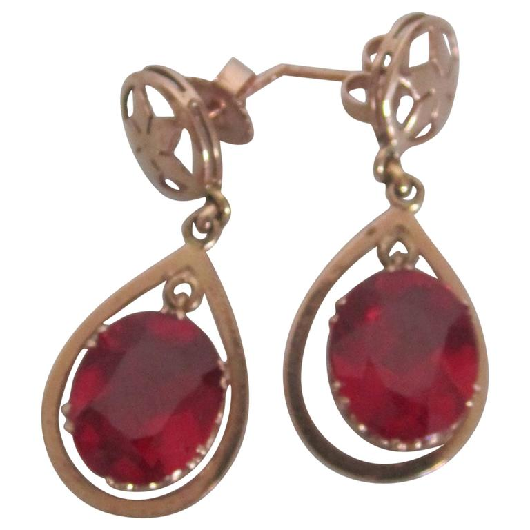 Vintage 14 Karat Pink Gold Earrings With Red Ruby Style Stones For