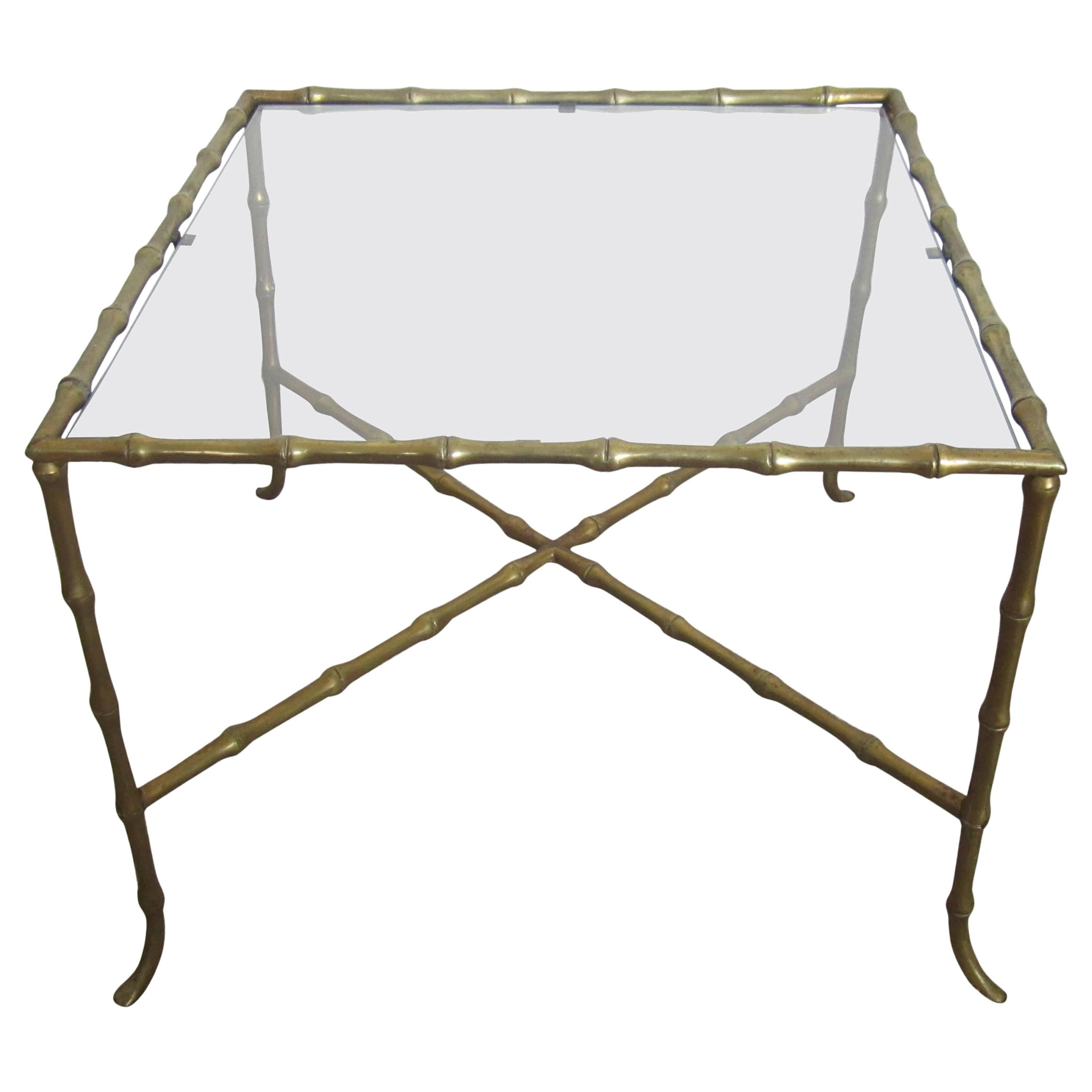 Brass 'Bamboo' and Glass End Table