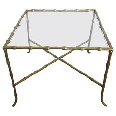 French Midcentury Brass and Glass Side or End Table by Maison Baguès, France