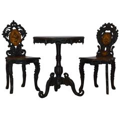 Late 19th Century Wooden Animal Inlay Table Set from Switzerland