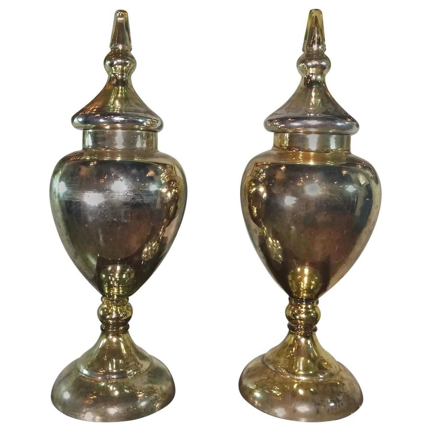 Pair Of Mercury Glass Urns For Sale At 1stdibs