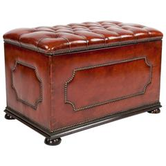 Leather Upholstered Ottoman