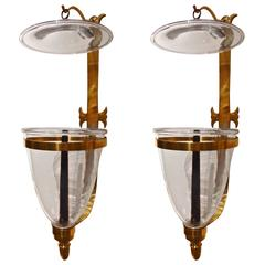 Pair of Georgian Style Handblown Bell Jar Sconces