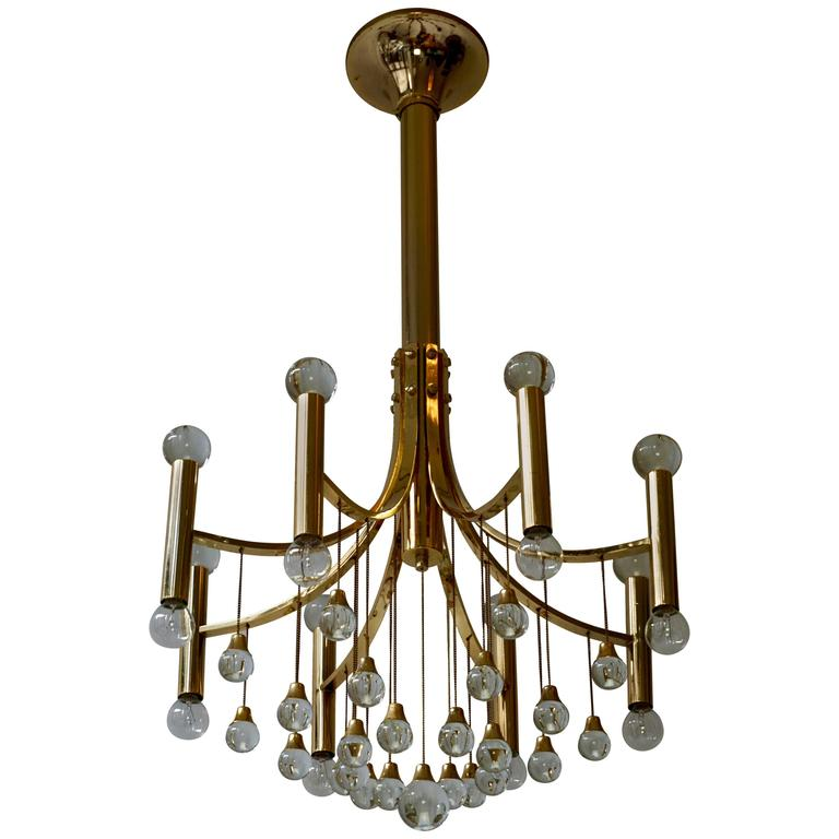 Italian Brass and Glass Chandelier by Sciolari