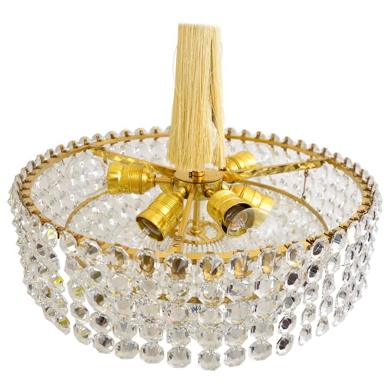Very Nice Lobmeyr Chandelier 'Signed', 1950s For Sale
