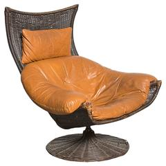 Gerard Van Den Berg Leather and Rattan Lounge Chair for Montis