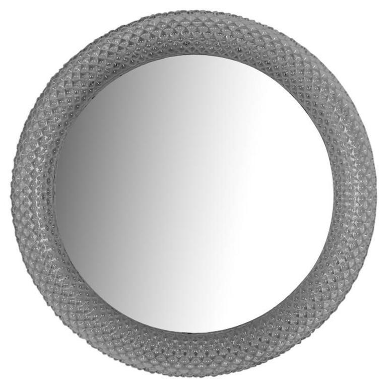 Midcentury Round Clear Acrylic Frame Mirror Light