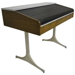 Rare, Special Order Roll Top Pedestal Desk by George Nelson