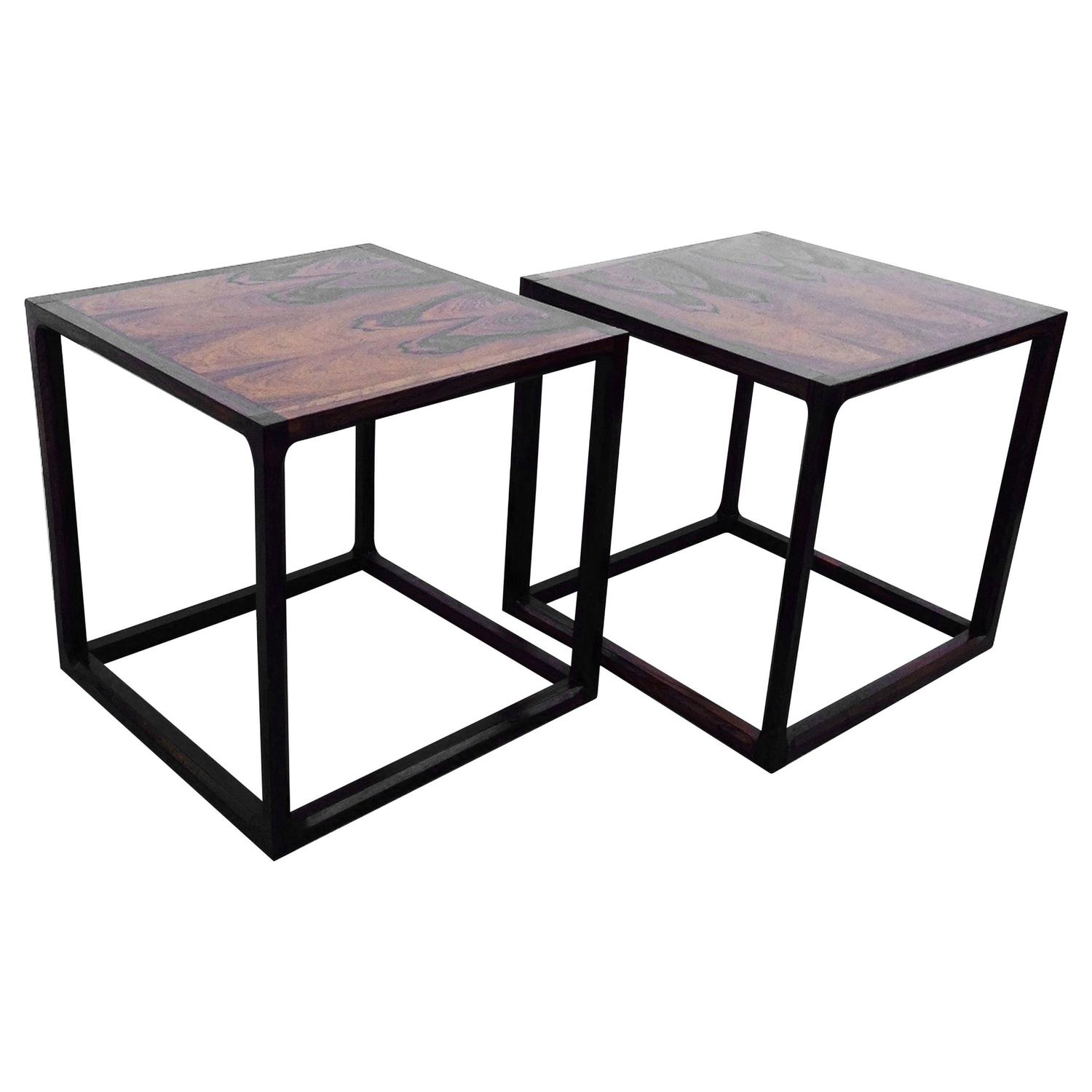 Pair Of Rosewood Cube Cocktail Tables Circa 1960 For Sale At 1stdibs