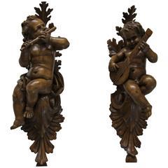 19th Century Italian Wooden Angel or Cherub