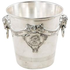 Antique French G. Chauvet Freres Reims Silver Plate Champagne Bucket with Rams