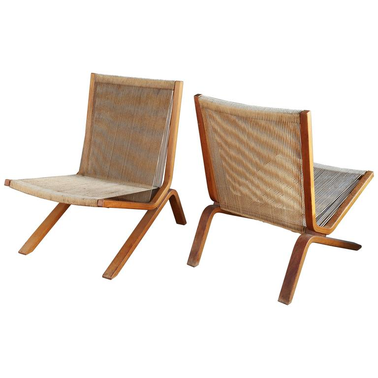 Pair of String Chairs by Allan Gould  1